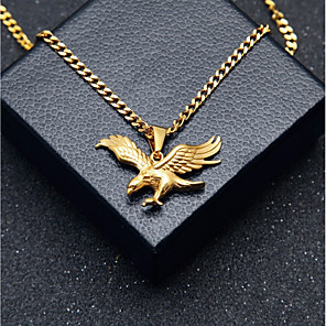 cheap Pendant Necklaces-Men's Pendant Necklace Chain Necklace Stylish Cuban Link Eagle Stylish European Hip-Hop Steel Stainless Gold 60 cm Necklace Jewelry 1pc For Gift Street