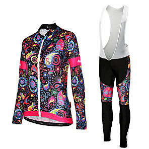 cheap Cycling Jersey & Shorts / Pants Sets-Women's Long Sleeve Cycling Jersey with Bib Tights Winter Fleece Polyester White Black Yellow Floral Botanical Plus Size Bike Jersey Bib Tights UV Resistant Quick Dry Sports Floral Botanical Mountain