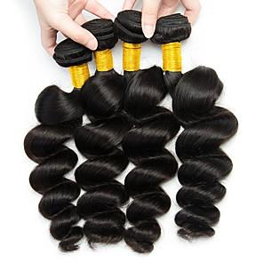 cheap 4 Bundles Human Hair Weaves-4 Bundles Hair Weaves Indian Hair Loose Wave Human Hair Extensions Remy Human Hair 100% Remy Hair Weave Bundles 400 g Natural Color Hair Weaves / Hair Bulk Human Hair Extensions 8-28 inch Natural