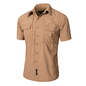 cheap Hiking Shirts-Men's Hiking Shirt / Button Down Shirts Short Sleeve Outdoor Quick Dry Fast Dry Breathability Wearable Shirt Top Autumn / Fall Spring Cotton Camping / Hiking Outdoor Exercise Multisport Brown
