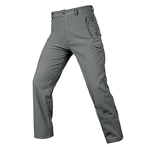 cheap Hiking Trousers & Shorts-Men's Hiking Pants Softshell Pants Solid Color Outdoor Waterproof Windproof Breathable Warm Softshell Cotton Pants / Trousers Bottoms Black Army Green Grey Hiking Outdoor Exercise Multisport M L XL