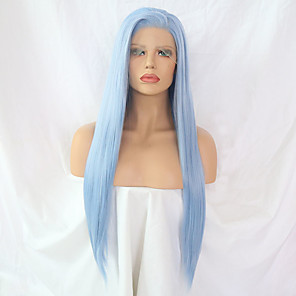 cheap Synthetic Lace Wigs-Synthetic Lace Front Wig Straight Minaj Side Part Lace Front Wig Long Light Blue Synthetic Hair Women's Designs Blue