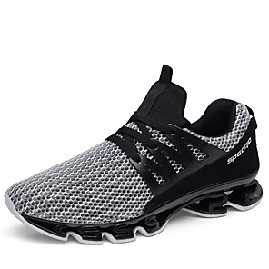 cheap Game Consoles-Men's Comfort Shoes Summer Sporty Daily Outdoor Trainers / Athletic Shoes Running Shoes / Walking Shoes Tissage Volant Breathable Booties / Ankle Boots Black / Red / Black / Gray Color Block
