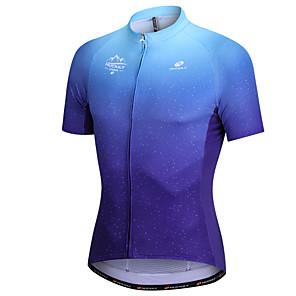 cheap Cycling Jerseys-Nuckily Men's Short Sleeve Cycling Jersey Dark Blue Dot Gradient Bike Tee / T-shirt Jersey Top Mountain Bike MTB Road Bike Cycling Breathable Sports Clothing Apparel / Micro-elastic / SBS Zipper
