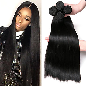cheap Colored Hair Weaves-4 Bundles Hair Weaves Brazilian Hair Straight Human Hair Extensions Remy Human Hair 100% Remy Hair Weave Bundles 400 g Natural Color Hair Weaves / Hair Bulk Human Hair Extensions 8-28 inch Natural