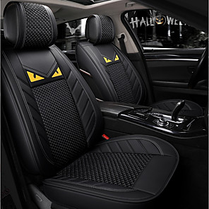 cheap Car Headrests&Waist Cushions-5 seats Black Cartoon Four Seasons General Car Seat Full Cover for five-seat car/Ice Silk material/Airbag compatibility/Adjustable and Removable/Family car/SUV