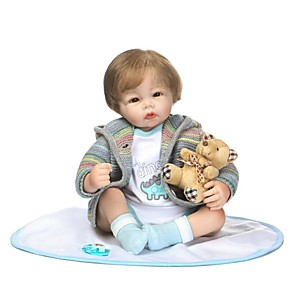 cheap Reborn Doll-NPKCOLLECTION 22 inch NPK DOLL Reborn Doll Girl Doll Baby Girl Reborn Baby Doll Newborn lifelike Gift Child Safe Parent-Child Interaction Cloth 3/4 Silicone Limbs and Cotton Filled Body with Clothes