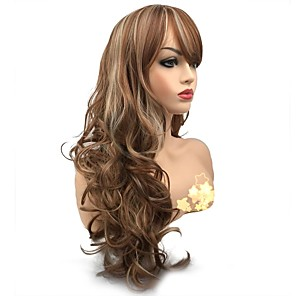 cheap Synthetic Trendy Wigs-Synthetic Wig Curly Side Part Wig Long Medium Auburn Synthetic Hair Women's Synthetic Light Brown StrongBeauty