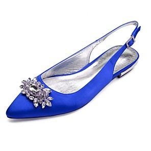cheap Wedding Shoes-Women's Wedding Shoes Glitter Crystal Sequined Jeweled Plus Size Flat Heel Pointed Toe Basic Wedding Party & Evening Rhinestone Crystal Solid Colored Satin Summer White / Black / Purple