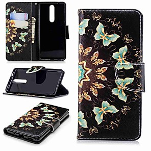 cheap Other Phone Case-Case For Nokia Nokia 5 / Nokia 3 / Nokia 2.1 Wallet / Card Holder / with Stand Full Body Cases Butterfly Hard PU Leather