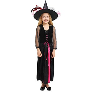 cheap Movie & TV Theme Costumes-Witch Costume Kid's Girls' Halloween Christmas Halloween Carnival Festival / Holiday Polyster Black Female Carnival Costumes Solid Colored Halloween