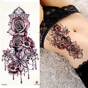 cheap Tattoo Stickers-3 pcs Temporary Tattoos  Rose Tattoos  tattoo designs Trend Smooth Sticker Water Resistant / Safety brachium / Shoulder Card PaperTattoo Body Stickers for Women