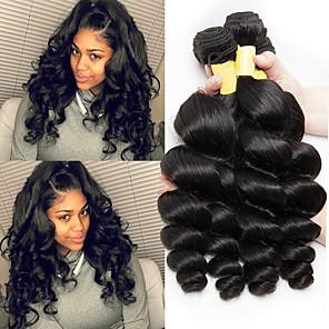 cheap Human Hair Weaves-3 Bundles Malaysian Hair Wavy Unprocessed Human Hair 150 g Natural Color Hair Weaves / Hair Bulk Extension 8-28 inch Natural Human Hair Weaves Best Quality Hot Sale For Black Women Human Hair / 8A