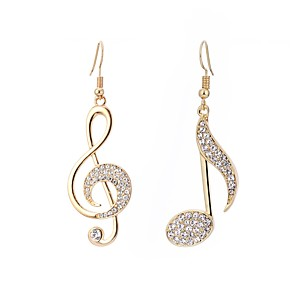 cheap Earrings-Women's Cubic Zirconia Mismatch Earrings Hanging Earrings Mismatched Pave Music Music Notes Ladies Simple Casual / Sporty Elegant French Bling Bling Earrings Jewelry Gold / Silver / Rose For Carnival