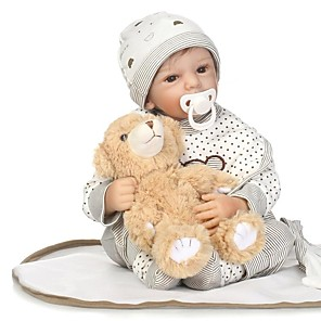 cheap Reborn Doll-NPKCOLLECTION 24 inch NPK DOLL Reborn Doll Baby Boy Reborn Toddler Doll Newborn lifelike Gift Child Safe Parent-Child Interaction Cloth 3/4 Silicone Limbs and Cotton Filled Body with Clothes and