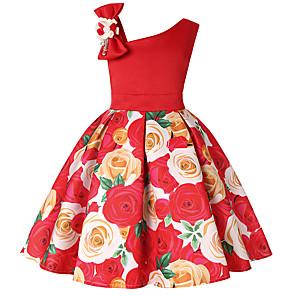 お買い得  女児 ドレス-子供 幼児 女の子 活発的 甘い クリスマス 日常 祝日 フラワー カラーブロック ソリッド プリント ノースリーブ 膝上 ドレス パープル