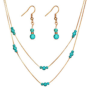 cheap Jewelry Sets-Women's Turquoise Drop Earrings Pendant Necklace Layered Drop Gourd Ladies Simple Fashion Elegant Earrings Jewelry Gold / Silver For Gift Evening Party