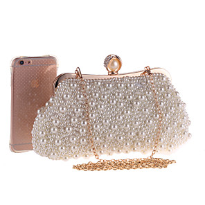 cheap Women's Heels-Women's Bags Polyester Evening Bag Pearls / Chain for Wedding / Event / Party Beige / Wedding Bags