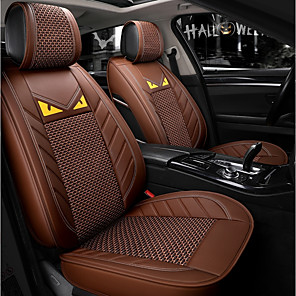 cheap Car Seat Covers-5 seats Coffee Cartoon Four Seasons General Car Seat Full Cover for five-seat car/Ice Silk material/Airbag compatibility/Adjustable and Removable/Family car/SUV