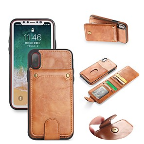 cheap iPhone Cases-Case For Apple iPhone X / iPhone 8 Plus / iPhone 8 Wallet / Card Holder / with Stand Full Body Cases Solid Colored Hard PU Leather
