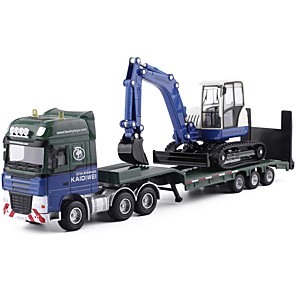 cheap Building Blocks-1:50 Toy Car Transporter Truck Construction Vehicle Construction Truck Set Backhoe Loader Excavator City View Exquisite Metal Mini Car Vehicles Toys for Party Favor or Kids Birthday Gift