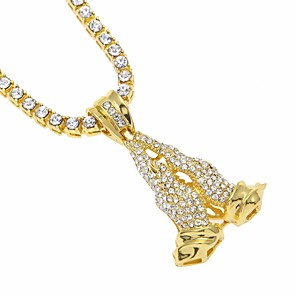 cheap Pendant Necklaces-Men's AAA Cubic Zirconia Pendant Necklace Statement Necklace Stylish Hollow Out Creative Hope Trendy Hyperbole Bikini egyptian Alloy Gold Silver 70 cm Necklace Jewelry 1pc For Carnival Club