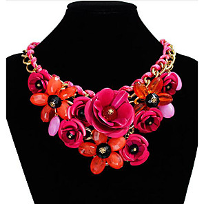 cheap Jewelry Sets-Women's Crystal Statement Necklace Plaited Wrap Roses Flower Statement Ladies European Festival / Holiday Synthetic Gemstones Resin Plastic Black Purple Red Blue Pink Necklace Jewelry For Party