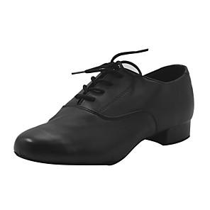 cheap Latin Dancewear-Boys' Dance Shoes Faux Leather Modern Shoes Heel Thick Heel Black / Performance / Practice