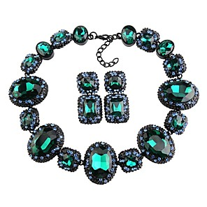 cheap Jewelry Sets-Women's Crystal High End Crystal Stud Earrings Choker Necklace Statement Necklace Thick Chain Hollow Flower Blessed Statement Ladies Luxury Geometric Elegant Earrings Jewelry Red / Green / Blue For