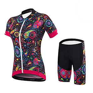 cheap Cycling Jerseys-Malciklo Women's Short Sleeve Cycling Jersey with Shorts Yellow Green Blue Floral Botanical Bike Clothing Suit Sports Spandex Bamboo-carbon Fiber Coolmax® Floral Botanical Mountain Bike MTB Road Bike
