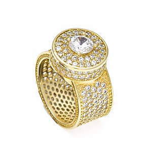 cheap Men's Bracelets-Men's Statement Ring Ring AAA Cubic Zirconia Moissanite 1pc Gold Silver Copper Geometric Trendy Hyperbole Hip-Hop Wedding Masquerade Jewelry Stylish Solitaire Round Cut Creative Cool