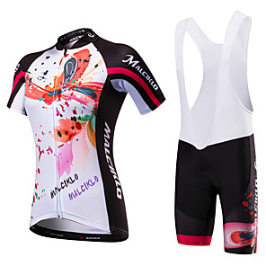 cheap Cycling Jersey & Shorts / Pants Sets-Malciklo Women's Short Sleeve Cycling Jersey with Bib Shorts Black Black / White Floral Botanical Bike Jersey Bib Tights Breathable Quick Dry Anatomic Design Ultraviolet Resistant Reflective Strips