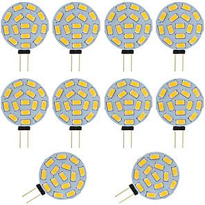 cheap LED Bi-pin Lights-10pcs  2W G4 LED Bi-pin Bulb Round 15 SMD 5730 DC / AC 12 - 24V Warm / Cold White