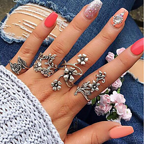 cheap Jewelry Sets-Women's Open Cuff Ring Ring Set thumb ring 4pcs Silver Alloy Circle Geometric Ladies Unusual Unique Design Wedding Daily Jewelry Vintage Style Hollow Out Leaf Flower Cool