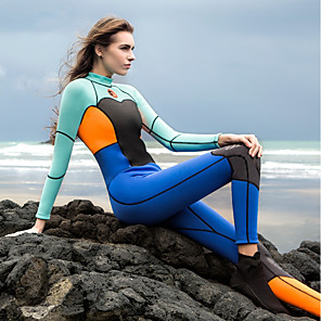 cheap Wetsuits, Diving Suits & Rash Guard Shirts-HISEA® Women's Full Wetsuit 1.5mm Spandex Diving Suit Thermal / Warm Long Sleeve Back Zip - Diving Water Sports Patchwork Autumn / Fall Summer