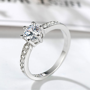 cheap Rings-Women's Ring Belle Ring 1pc Silver Brass Platinum Plated Imitation Diamond Six Prongs Ladies Unique Design Elegant Wedding Formal Jewelry Stylish Solitaire Halo Precious Cute