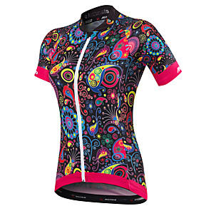 cheap Cycling Jerseys-Malciklo Women's Short Sleeve Cycling Jersey Black Orange Yellow Floral Botanical Plus Size Bike Jersey Top Mountain Bike MTB Road Bike Cycling Breathable Quick Dry Anatomic Design Sports Spandex
