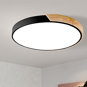 cheap Dimmable Ceiling Lights-40 cm Color Gradient Flush Mount Lights Metal Wood / Bamboo Circle Painted Finishes / Wood LED 220-240V