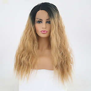 cheap Historical & Vintage Costumes-Synthetic Lace Front Wig Wavy Side Part Lace Front Wig Blonde Long Black / Gold Synthetic Hair 18-22 inch Women's Adjustable Heat Resistant Party Blonde