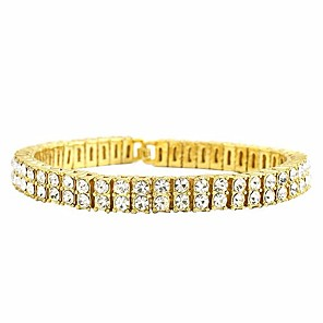cheap Men's Bracelets-Men's Cubic Zirconia Tennis Bracelet Tennis Chain Creative Punk European Dubai Iced Out Rhinestone Bracelet Jewelry Gold / Black / Silver For Wedding Masquerade Engagement Party Prom Holiday Going out