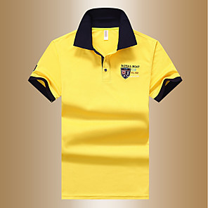 cheap Christmas Decorations-Men's Solid Colored Polo Basic Daily Shirt Collar White / Blue / Yellow / Summer / Short Sleeve