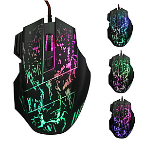 cheap Mouse Pad-LITBest K1012B Wired USB Gaming Mouse Led Light 3200 dpi 4 Adjustable DPI Levels 6 pcs Keys