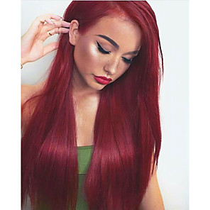cheap Synthetic Trendy Wigs-Synthetic Wig Synthetic Lace Front Wig Straight Layered Haircut Lace Front Wig Burgundy Long Burgundy Synthetic Hair 24 inch Women's Soft Adjustable Heat Resistant Burgundy Modernfairy Hair