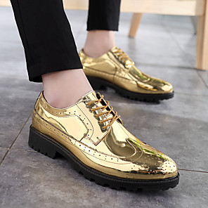 cheap Men's Slip-ons & Loafers-Men's Formal Shoes PU Fall Oxfords Gold / Silver / Party & Evening / Party & Evening / EU40
