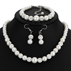 cheap Jewelry Sets-Women's Drop Earrings Bead Bracelet Necklace Classic Retro Ladies Artistic Romantic Imitation Pearl Rhinestone Earrings Jewelry White For Wedding Masquerade Engagement Party Prom Going out Promise