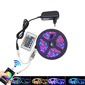 cheap LED Strip Lights-5m Light Sets LED Light Strips RGB Tiktok Lights 300 LEDs 2835 SMD 8mm 1 24Keys Remote Controller 1 x 2A power adapter RGB Tiktok Lights Waterproof Cuttable Linkable 100-240 V 1pc