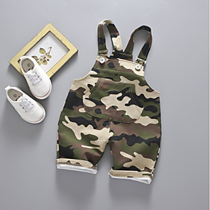 cheap Kids Collection Under $8.99-Baby Boys' Basic Print Overall & Jumpsuit Army Green