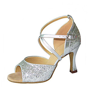 cheap Wedding Shoes-Women's Dance Shoes Satin Latin Shoes Sandal / Heel Flared Heel Customizable Gold / Silver / Performance / Practice