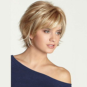 cheap Synthetic Trendy Wigs-Human Hair Wig Short Wavy Bob Layered Haircut Short Hairstyles With Bangs Wavy Black Blonde Brown Side Part Capless Women's Blonde / Bleached Blonde Light Auburn Light Brown pixie cut