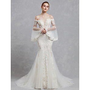 cheap Wedding Wraps-Mermaid / Trumpet Wedding Dresses Off Shoulder Court Train Lace Tulle Long Sleeve Romantic Boho See-Through Backless Illusion Sleeve with Lace Appliques 2020